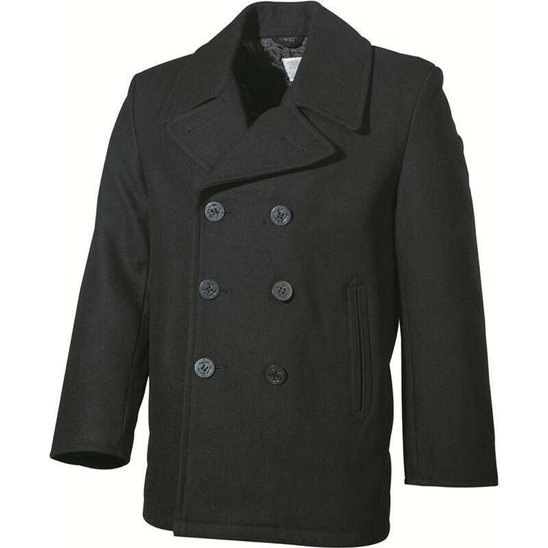 mfh us pea coat schwarz mit schwarzen kn pfen. Black Bedroom Furniture Sets. Home Design Ideas