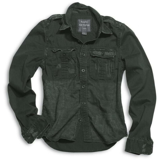 SURPLUS Raw Vintage Shirt, langarm, black washed S