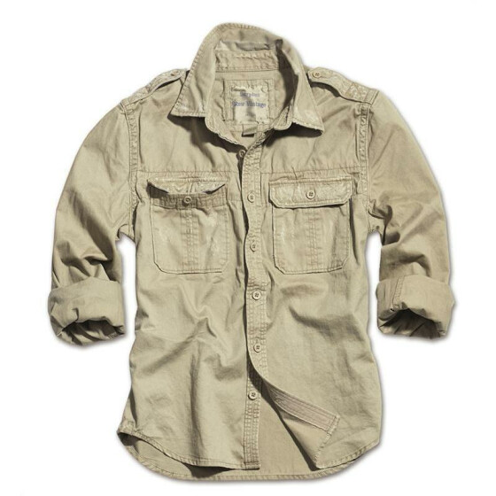 SURPLUS Raw Vintage Shirt, langarm, beige washed S