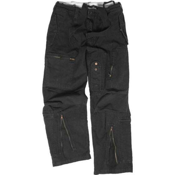 MILTEC FLIEGERHOSE COTTON PREWASH, black XL