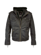 BRANDIT Black Rock Hooded Leather, black M