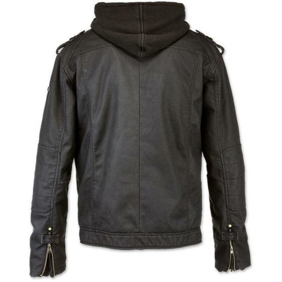 BRANDIT Black Rock Hooded Leather, black L