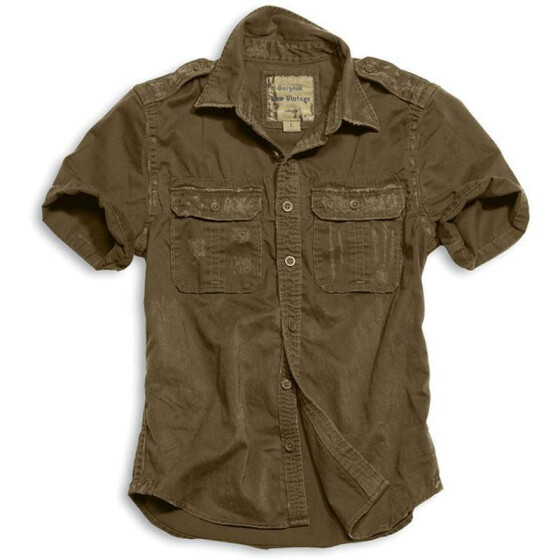 SURPLUS Raw Vintage Shirt, kurzarm, braun washed S