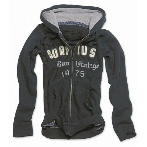 SURPLUS Ladies Hoodie, washed, black XXL