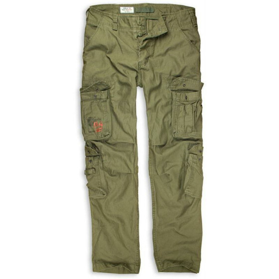 SURPLUS Airborne Slimmy Trouser, stonewashed, oliv XL / 98,5 cm
