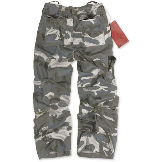 SURPLUS Infantry Cargo Trouser, stonewashed, night camo L / 90 cm
