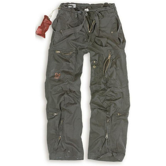 SURPLUS Infantry Cargo Trouser, stonewashed, black S / 80 cm