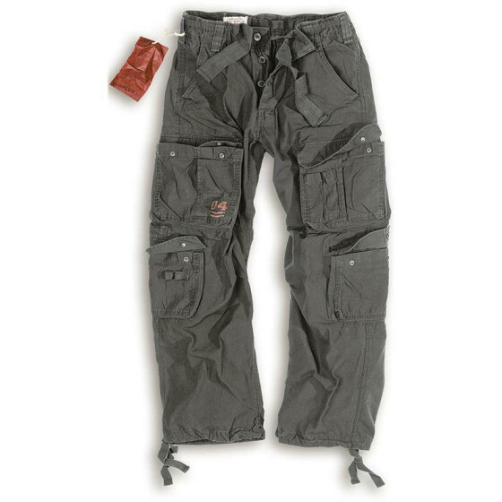 SURPLUS Airborne Vintage Trouser, stonewashed, black 4XL / 115 cm
