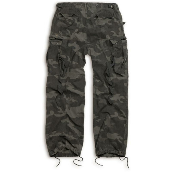 SURPLUS Vintage Fatigues Trousers, black camo S / 84 cm