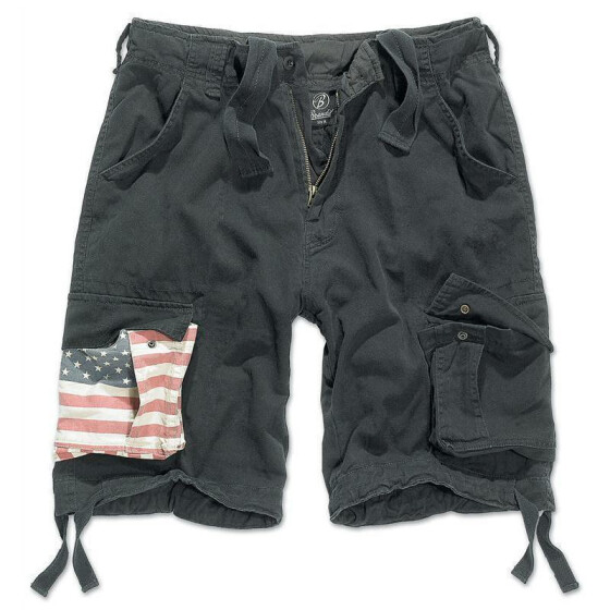 BRANDIT Urban Legend Stars & Stripes Shorts, black