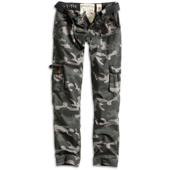 SURPLUS LADIES PREMIUM TROUSERS SLIMMY, black camo washed L / 38