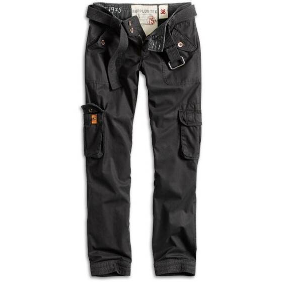 SURPLUS LADIES PREMIUM TROUSERS SLIMMY, black washed S / 34