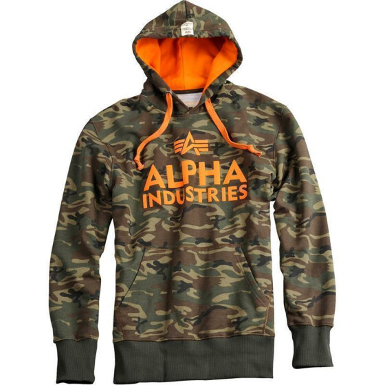 Alpha Industries Foam Print Hoody, woodl.-camo S
