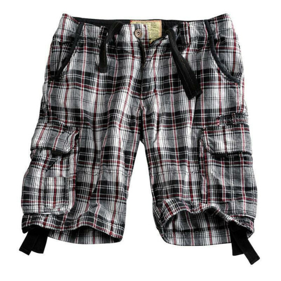 Alpha Industries JET 2 Shorts, red checked 40 inches