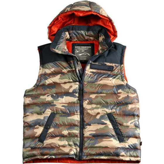 Alpha Industries Expedition Down Vest, woodl.-camo