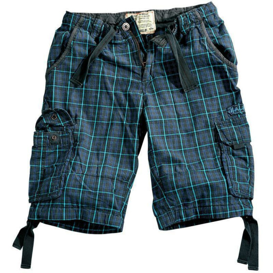 Alpha Industries JET 2 Shorts, blue checked 33 inches