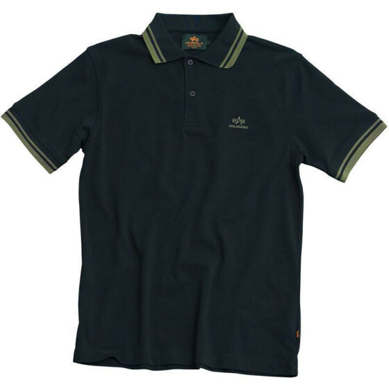 Alpha Industries Polo, black-olive S