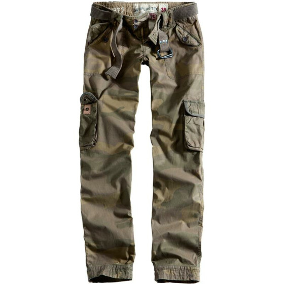 SURPLUS LADIES PREMIUM TROUSERS SLIMMY, woodland gewaschen XXL / 42