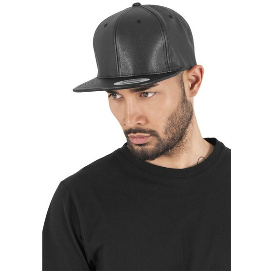 Flexfit Full Leather Imitation Snapback, blk/blk