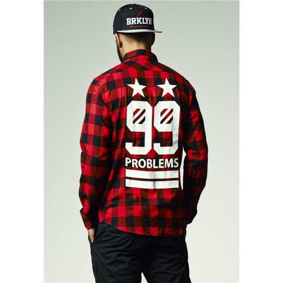 Mister Tee 99 Stars Flanell Shirt, blk/red