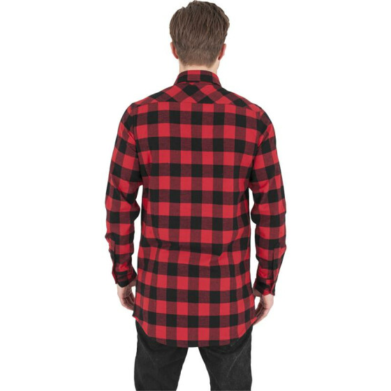 Urban Classics Long Checked Flanell Shirt, blk/red