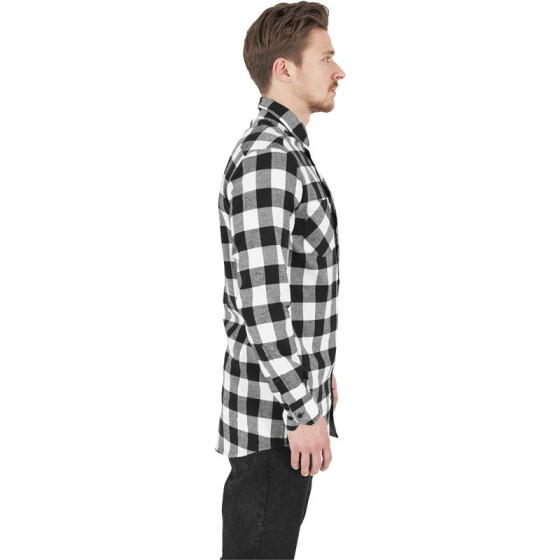 Urban Classics Long Checked Flanell Shirt, blk/wht