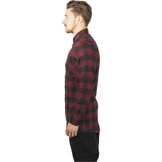 Urban Classics Long Checked Flanell Shirt, blk/burgundy