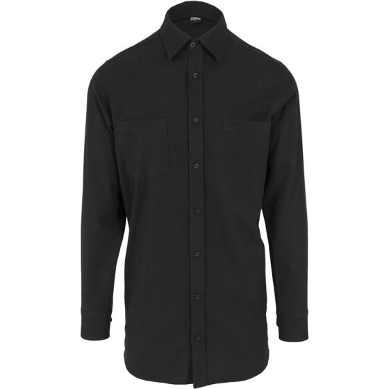 Urban Classics Side-Zip Long Checked Flanell Shirt, blk/blk