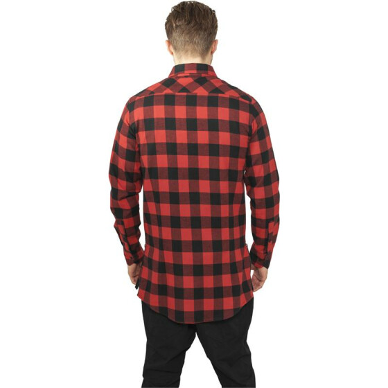 Urban Classics Side-Zip Long Checked Flanell Shirt, blk/red