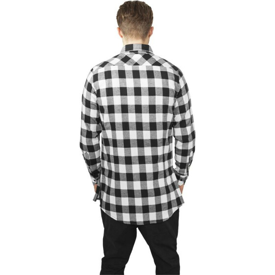 Urban Classics Side-Zip Long Checked Flanell Shirt, blk/wht