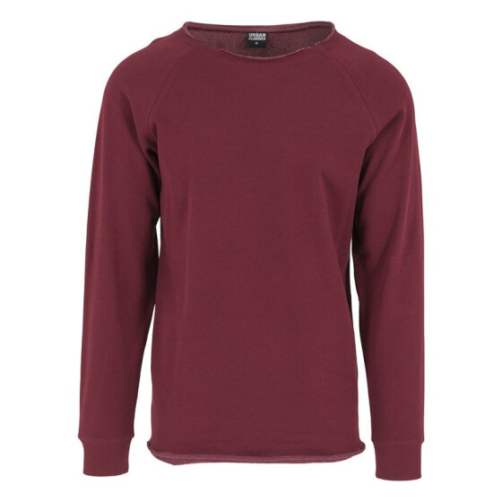 Urban Classics Long Open Edge Terry Crewneck, burgundy