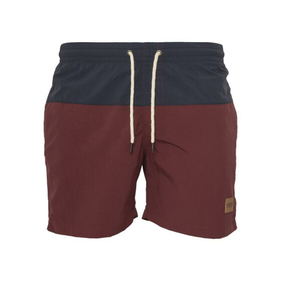Urban Classics Block Swim Shorts, nvy/burgundy