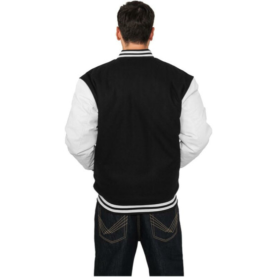 Urban Classics Half-Leather College Jacket, blk/wht