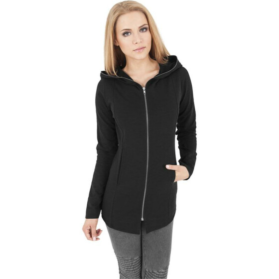 Urban Classics Ladies Long Melange Zip Hoody, charcoal