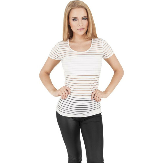 Urban Classics Ladies Semi Transparent Scuba Tee, offwhite