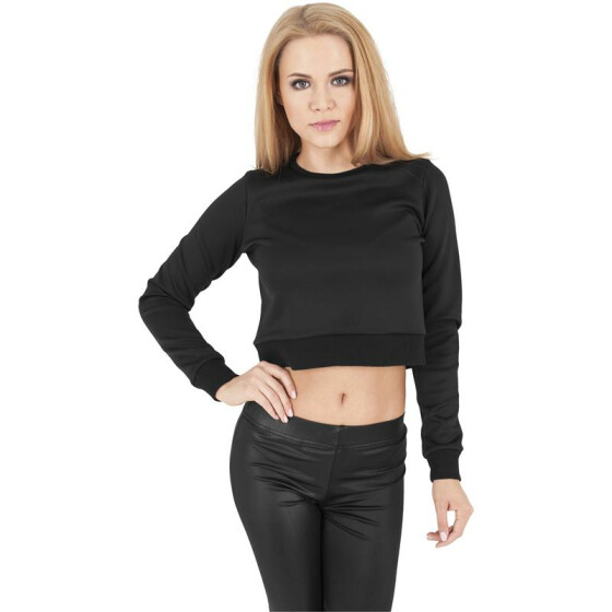 Urban Classics Ladies Scuba Cropped Crew, black