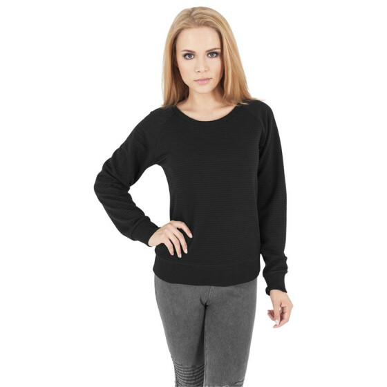 Urban Classics Ladies Stripe Quilt Raglan Crew, black