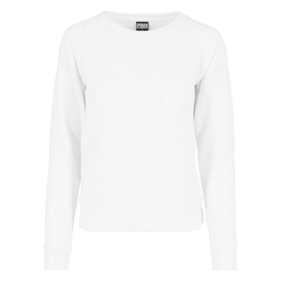 Urban Classics Ladies Stripe Quilt Raglan Crew, white