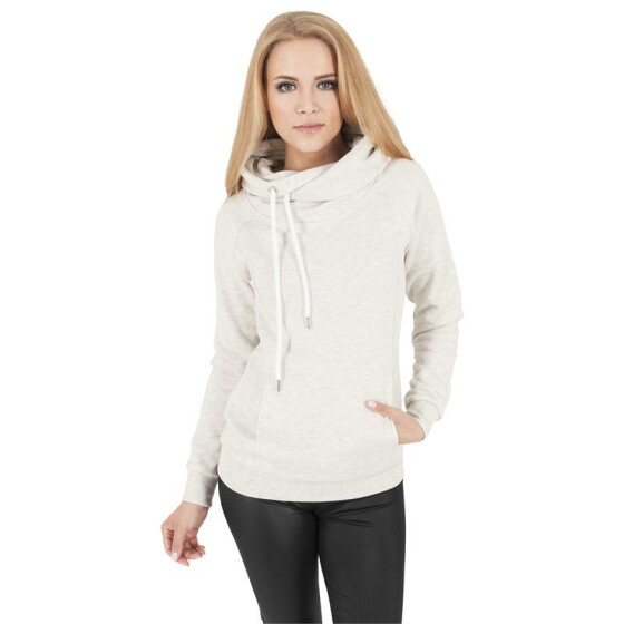 Urban Classics Ladies Raglan High Neck Hoody, offwhite melange
