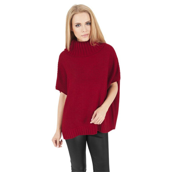 Urban Classics Ladies Knitted Poncho, red