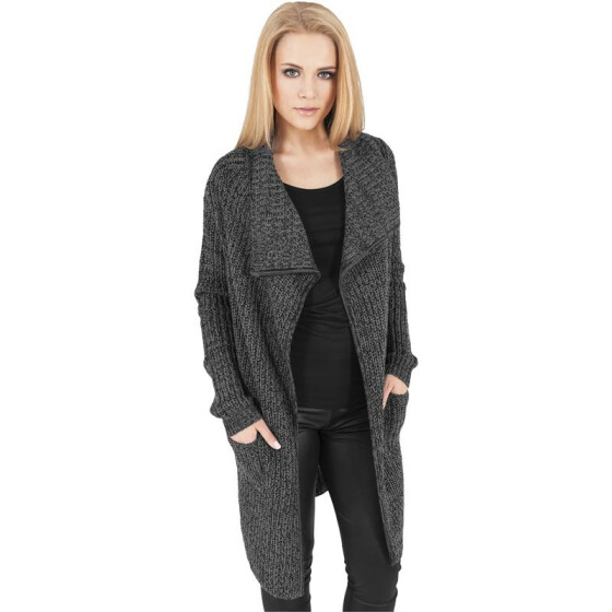 Urban Classics Ladies Knitted Long Cape, charcoal
