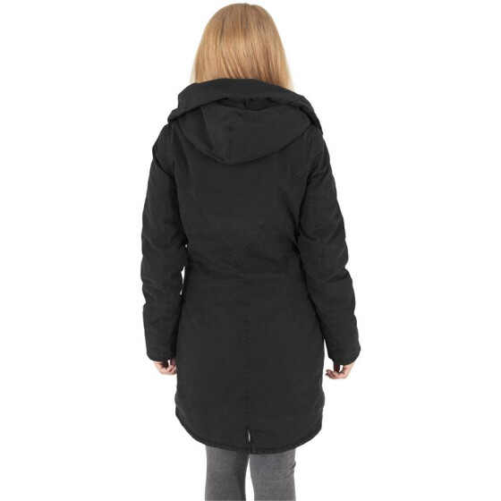 Urban Classics Ladies Garment Washed Long Parka, black