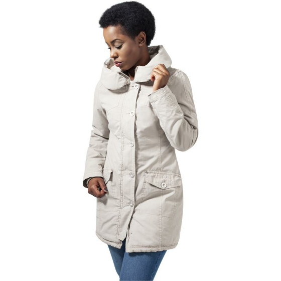 Urban Classics Ladies Garment Washed Long Parka, sand