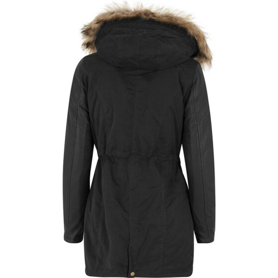 Urban Classics Ladies Leather Imitation Sleeve Parka, blk/blk