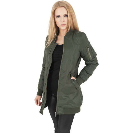 Urban Classics Ladies Long Bomber Jacket, olive
