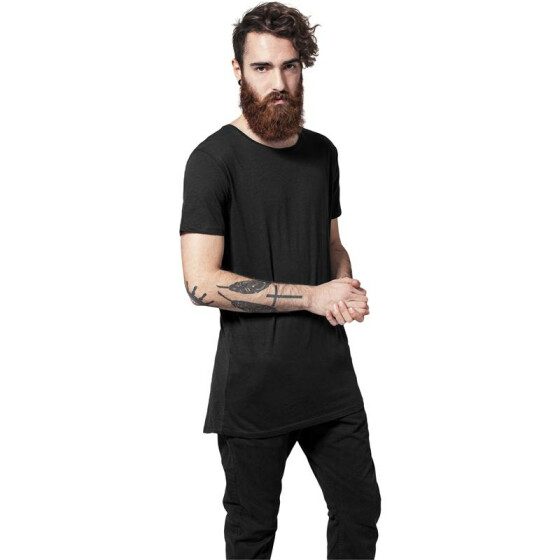 Urban Classics Long Back Shaped Slub Tee, black