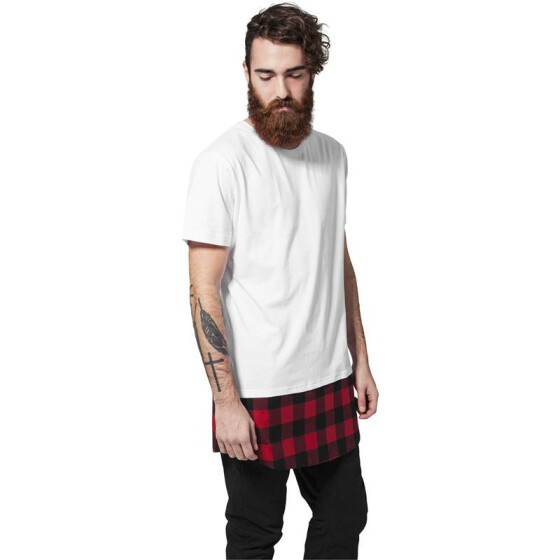 Urban Classics Long Shaped Flanell Bottom Tee, wht/blk/red