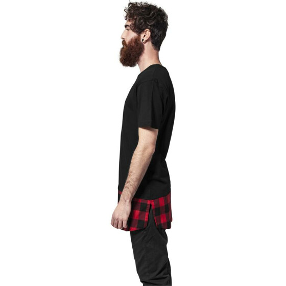 Urban Classics Long Shaped Flanell Bottom Tee, blk/blk/red