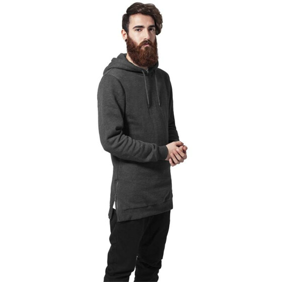 Urban Classics Long Side Zipped Hoody, charcoal