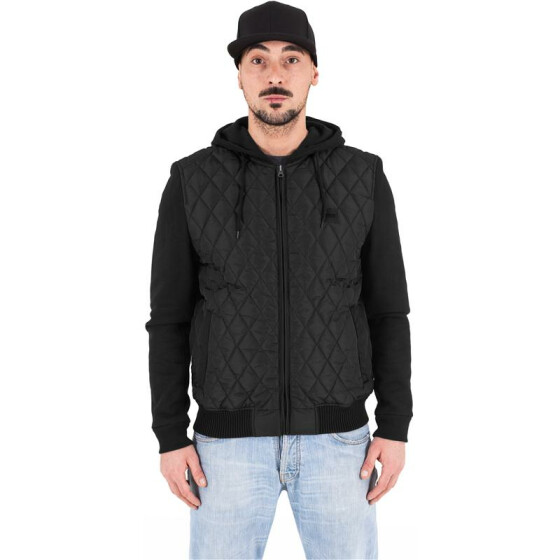 Urban Classics Hooded Diamond Quilt Nylon Jacket, blk/blk